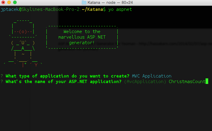 Running Yeoman, step2, choose Project Name